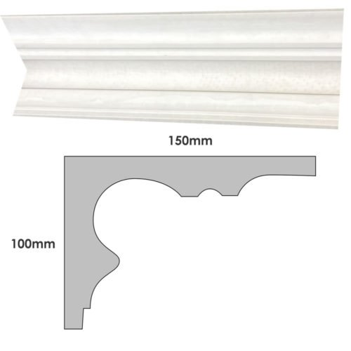 Medium plain Victorian plaster cornice