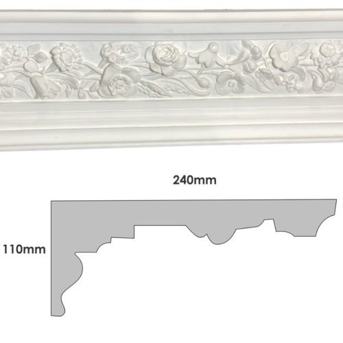 Large Victorian floral plaster cornice