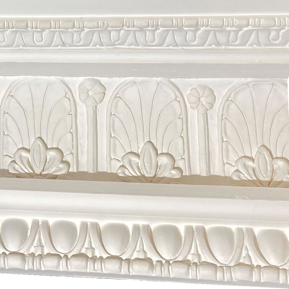 Large Victorian egg&dart and honeysuckle plaster cornice
