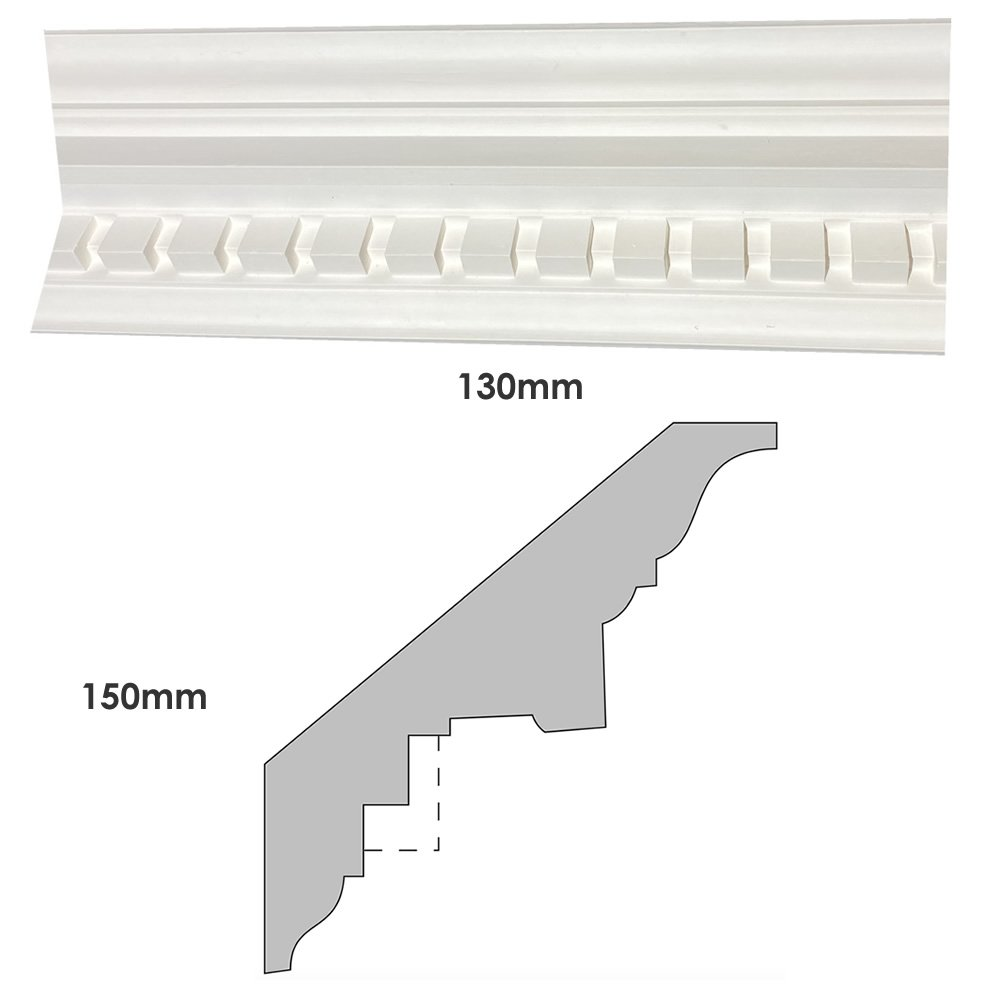 Large Georgian adentil block plaster cornice