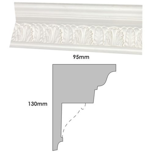 Victorian french leaf plaster cornice
