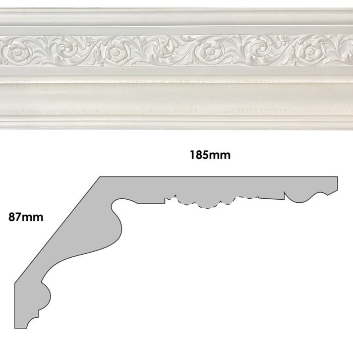CN52 - large floral Regency / Victorian plaster cornice